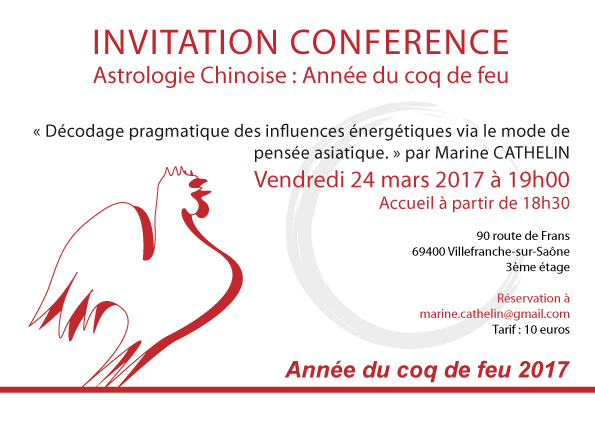 Année du Coq de feu conférence à Villefranche-sur-Saône